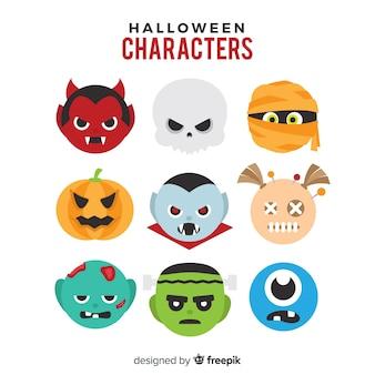 Set de divertidos personajes de halloween