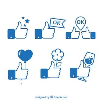 Set de divertidos símbolos me gusta