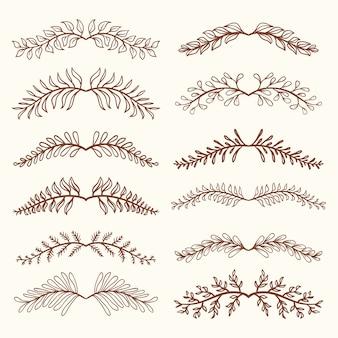 Set de divisores dibujados a mano vintage
