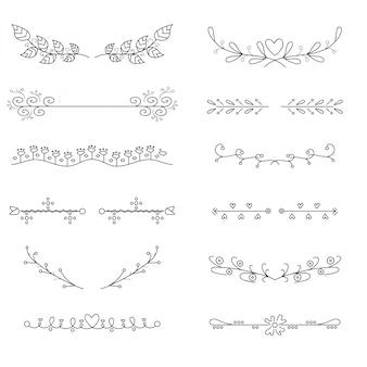 Set de divisores dibujados a mano.