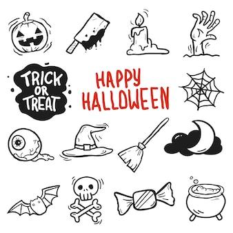 Set doodle dibujo dibujado a mano halloween blanco y negro