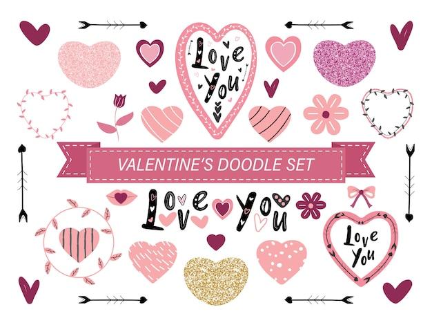 Set de doodle de san valentín rosa