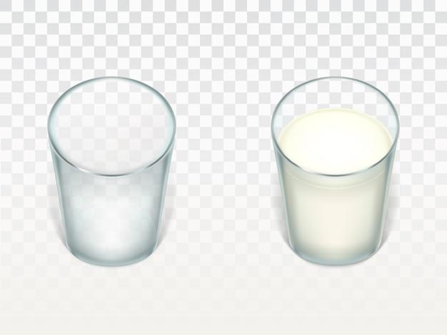 Set con dos vasos realistas, limpios y vacíos, llenos de leche, crema o yogurt