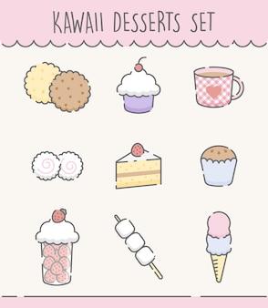 Set de dulces dibujados a mano