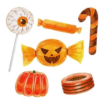 Set de dulces de halloween en acuarela