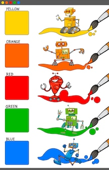 Set educativo de colores básicos con robots.