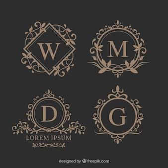 Set de elegantes monogramas florales