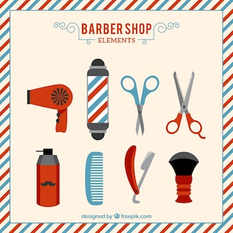 Set de elementos de barbería dibujadops a mano