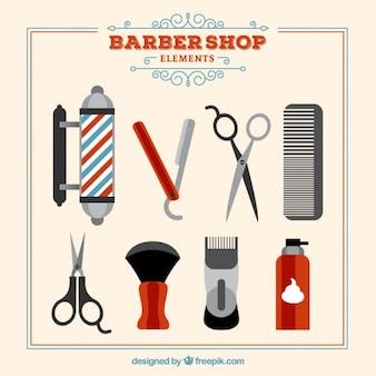 Set de elementos de barbería en estilo vintage