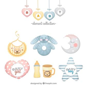 Set de elementos de bebé en estilo plano