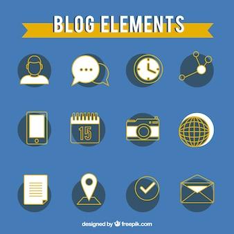 Set de elementos de blog dibujados a mano