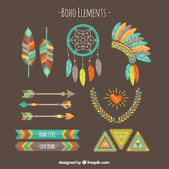 Set de elementos boho de colores