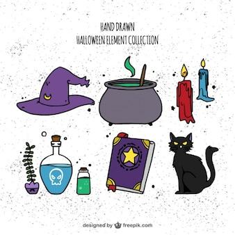 Set de elementos de brujería dibujados a mano