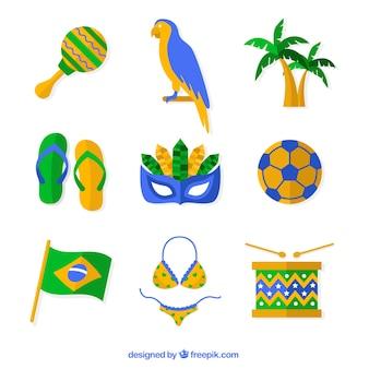 Set de elementos de carnaval de brasil