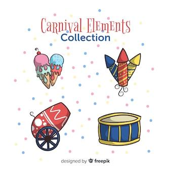 Set elementos carnaval dibujados a mano