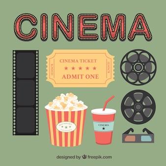 Set de elementos de cine vintage
