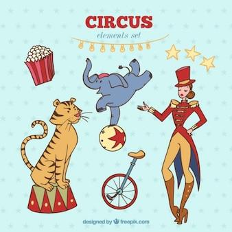 Set de elementos de circo dibujados a mano