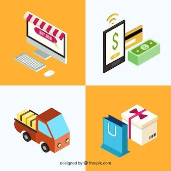 Set de elementos de compra online en perspectiva isométrica
