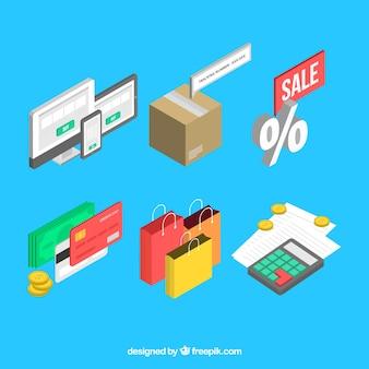 Set de elementos de compra online