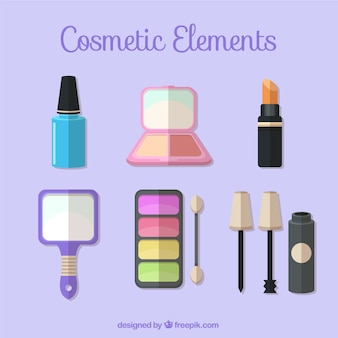Set de elementos de cosmética en diseño plano