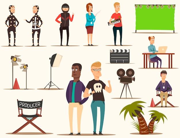 Set de elementos de creación de películas