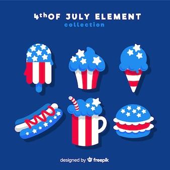Set de elementos del cuatro de julio