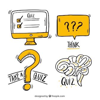 Set de elementos de cuestionario dibujados a mano