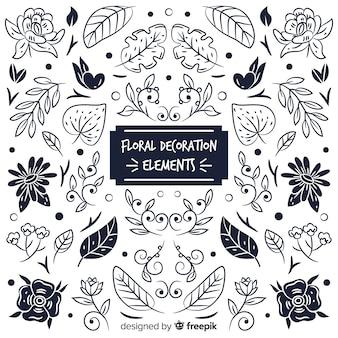 Set elementos de decoración floral sin color
