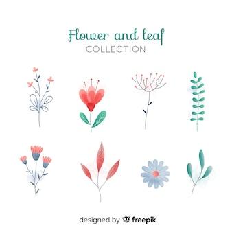 Set elementos decoración floral dibujada a mano
