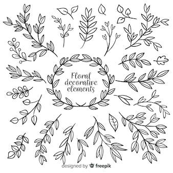 Set de elementos decorativos florales dibujados