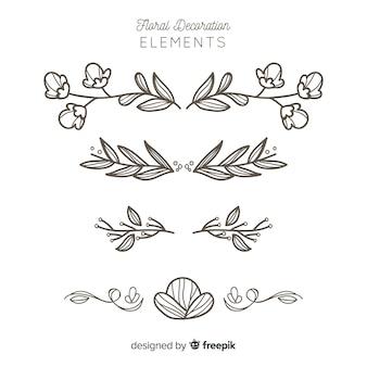 Set de elementos decorativos florales