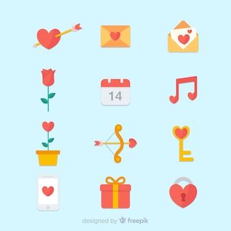 Set de elementos del día de san valentín