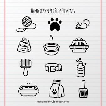 Set de elementos dibujados a mano para mascotas