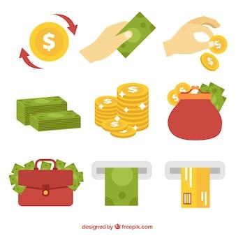Set de elementos de dinero y monedas