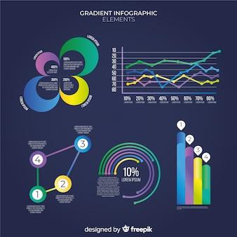 Set de elementos de estilo degradado de infografías