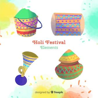 Set elementos festival holi coloridos