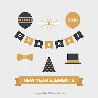 Set de elementos de fiesta de año nuevo