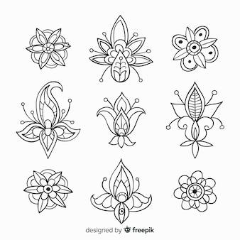 Set de elementos florales decorativos dibujados