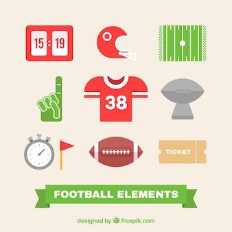 Set de elementos de fútbol americano en diseño plano