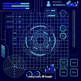Set de elementos futurísticos de infografía de estilo holográfico