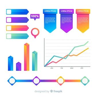 Set elementos infografía degradados