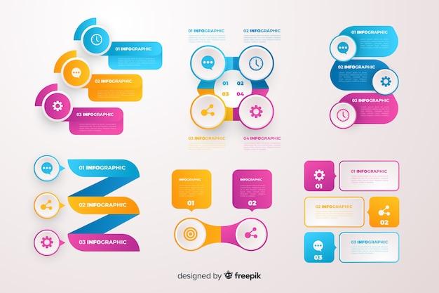 Set elementos de infografía de negocios degradados