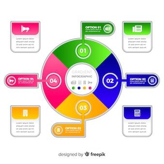 Set de elementos infográficos con degradado