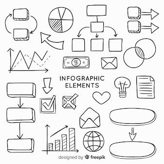Set de elementos infográficos dibujadas