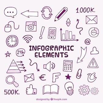 Set de elementos infográficos dibujados a mano