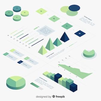 Set de elementos infográficos de estilo degradado con vista isométrica