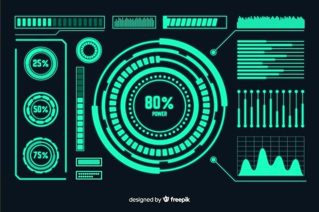Set de elementos infográficos y holográficos de estilo futurista
