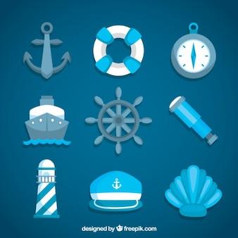 Set de elementos marineros azules