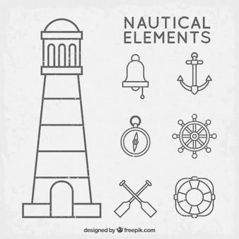 Set de elementos náuticos con contorno