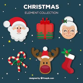 Set de elementos navideños y santa claus